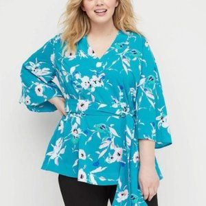 Lane Bryant Bell Sleeve Floral Tunic Top 26-28